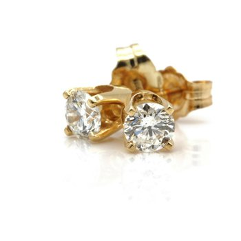 14K SOLID GOLD 0.50 CTW G IN COLOR SI1 IN CLARITY DIAMOND STUD EARRINGS #JB35-6
