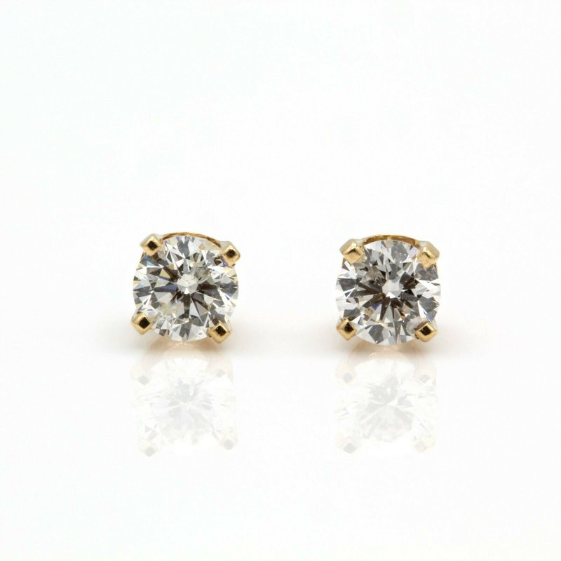 National Rarities 14K SOLID GOLD 0.50 CTW G IN COLOR SI1 IN CLARITY DIAMOND STUD EARRINGS #JB35-6