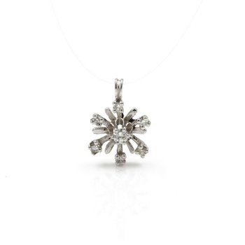 14K WHITE GOLD .25 CTW ROUND DIAMOND PRONG SET STARBURST SUN PENDANT #1024B-4