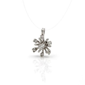 14K WHITE GOLD .25 CTW ROUND DIAMOND PRONG SET STARBURST SUN PENDANT #1024B-4