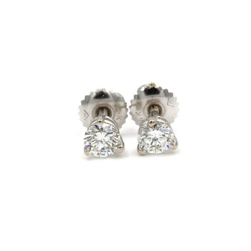 National Rarities 14K WHITE GOLD .62 CTW ROUND DIAMOND 3 PRONG STUD SCREW BACK EARRINGS #983B-7