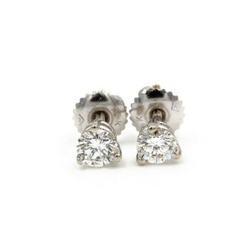 14K WHITE GOLD .62 CTW ROUND DIAMOND 3 PRONG STUD SCREW BACK EARRINGS #983B-7