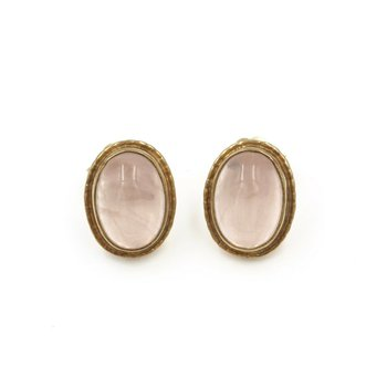 FASHION STUDS ROSE QUARTZ YELLOW GOLD CABOCHON PINK OVAL STUNNING NR# 987B-4