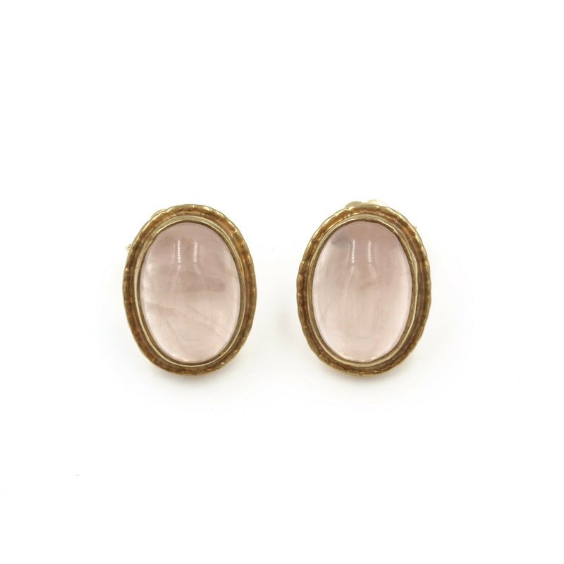 National Rarities FASHION STUDS ROSE QUARTZ YELLOW GOLD CABOCHON PINK OVAL STUNNING NR# 987B-4
