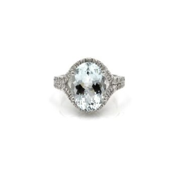 GORGEOUS AQUAMARINE 5CT PAVE SET DIAMOND ACCENTS 14K WG COCKTAIL RING #1015B-1