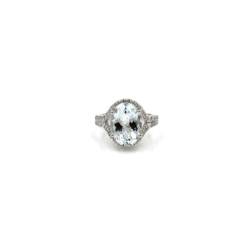 National Rarities GORGEOUS AQUAMARINE 5CT PAVE SET DIAMOND ACCENTS 14K WG COCKTAIL RING #1015B-1