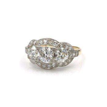 ANTIQUE PLATINUM 14K YELLOW GOLD 2.9 CTW OLD EURO DIAMOND TWO TONE RING E-320