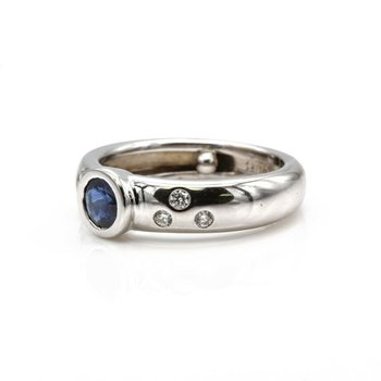 14K WG CONTEMPORARY BEZEL SET SAPPHIRE & DIAMOND RING COCKTAIL BAND#1025B-10