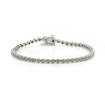 14K WHITE GOLD SINGLE CUT DIAMOND CLUSTER TENNIS BRACELET 2.00CTW #J3192-1