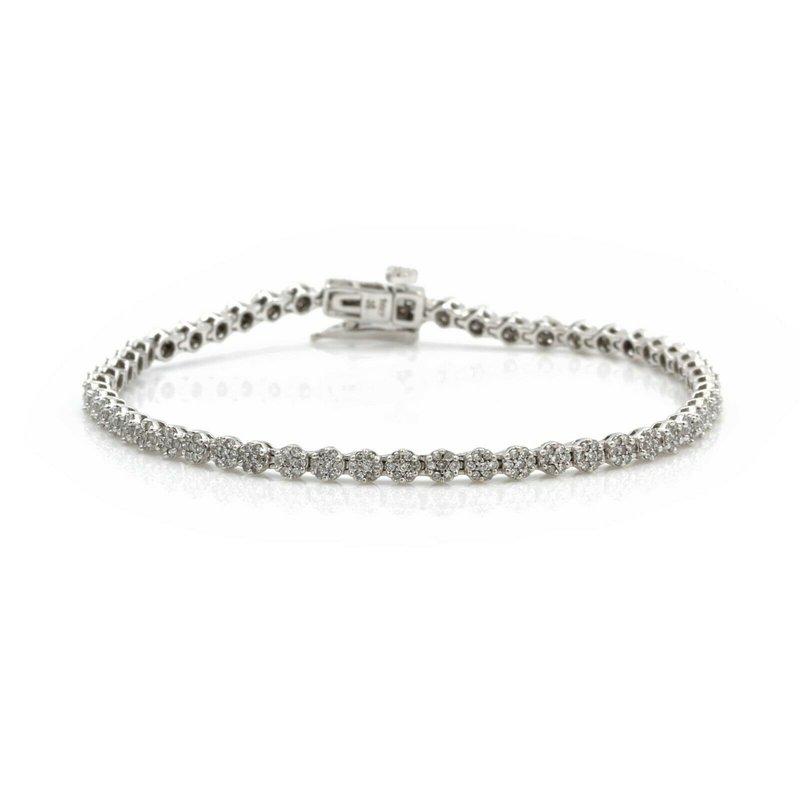 Unbranded 14K WHITE GOLD SINGLE CUT DIAMOND CLUSTER TENNIS BRACELET 2.00CTW #J3192-1