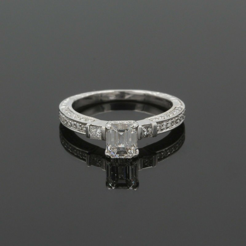 National Rarities 14K DIAMOND 1.17CTW EMERALD CUT ENGAGEMENT RING ACCENT DIAMONDS WHITEGOLD 987B-9