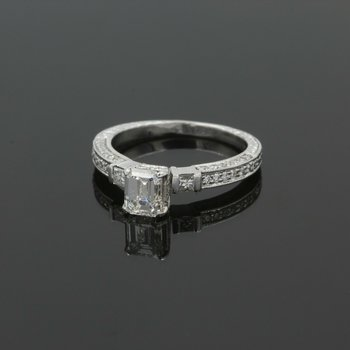 14K DIAMOND 1.17CTW EMERALD CUT ENGAGEMENT RING ACCENT DIAMONDS WHITEGOLD 987B-9