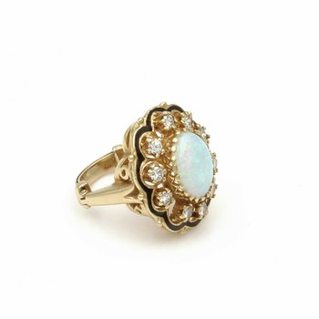 STUNNING 14K SOLID GOLD 3.35 CTW OPAL & DIAMOND COCKTAIL RING SIZE 5.5 #E-108