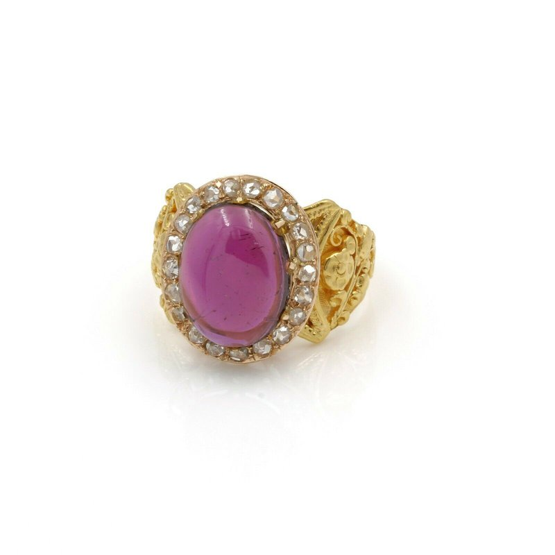 National Rarities 23K GOLD W/ 3.30CTW OVAL CABOCHON TOURMALINE & DIAMOND ACCENT RING SIZE 6 JB43-2