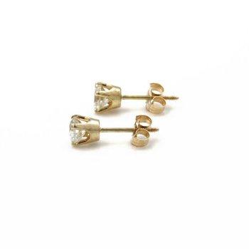 14K YELLOW GOLD ROUND BRILLIANT DIAMOND SOLITARE STUD EARRINGS THREADED 1032B-7
