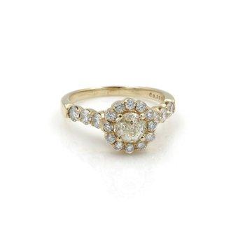 14K YELLOW GOLD 0.99CT CROWN OF LIGHT DIAMOND RING EGL GRADED SIZE 7.75 #J71