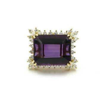 14K YELLOW GOLD 17.84 CTW EMERALD CUT AMETHYST DIAMOND COCKTAIL RING #E0319-65