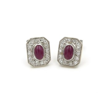 14K WHITE GOLD 1.28 CTW RUBY CABOCHON AND DIAMOND VINTAGE STUD EARRINGS #E-322