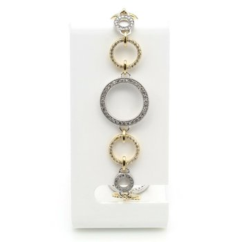 EFFY 14K YELLOW & WHITE GOLD DIAMOND CIRCULAR LINK BRACELET 1.90CTW  #D590-4