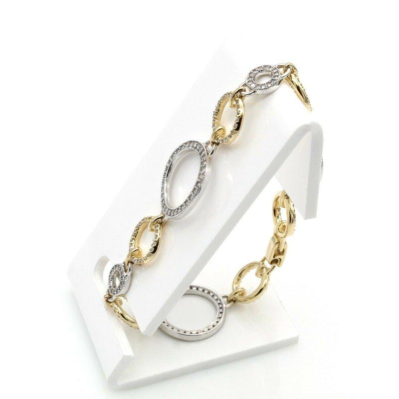 Effy EFFY 14K YELLOW & WHITE GOLD DIAMOND CIRCULAR LINK BRACELET 1.90CTW  #D590-4