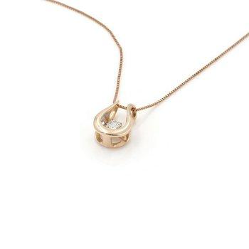 14K ROSE GOLD U-SHAPED ROUND BRILLIANT DIAMOND PENDANT 18 INCH NECKLACE #JB74-4