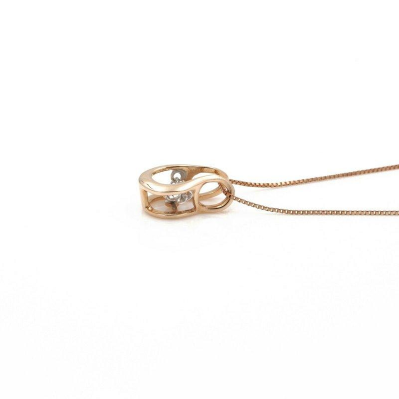 Unbranded 14K ROSE GOLD U-SHAPED ROUND BRILLIANT DIAMOND PENDANT 18 INCH NECKLACE #JB74-4