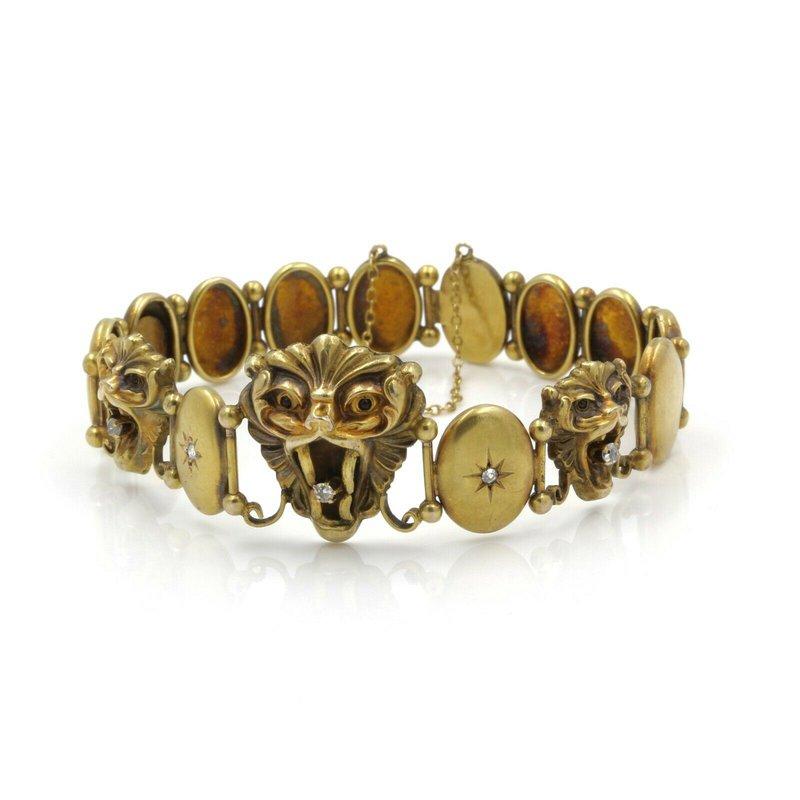 Antique VICTORIAN 10K GOLD .15 CTW OLD MINE DIAMOND RUBY MYTHICAL LION BRACELET #E335