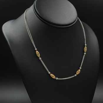 "14K WHITE & YELLOW GOLD 0.48 CTW DIAMOND FILIGREE BEAD NECKLACE 18"" #990B-10"