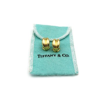 TIFFANY & CO. 18K GOLD DOMED CHANNEL LEVER BACK HUGGIE EARRINGS WITH BAG #974B-9