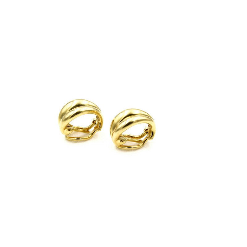 Tiffany Co TIFFANY & CO. 18K GOLD DOMED CHANNEL LEVER BACK HUGGIE EARRINGS WITH BAG #974B-9
