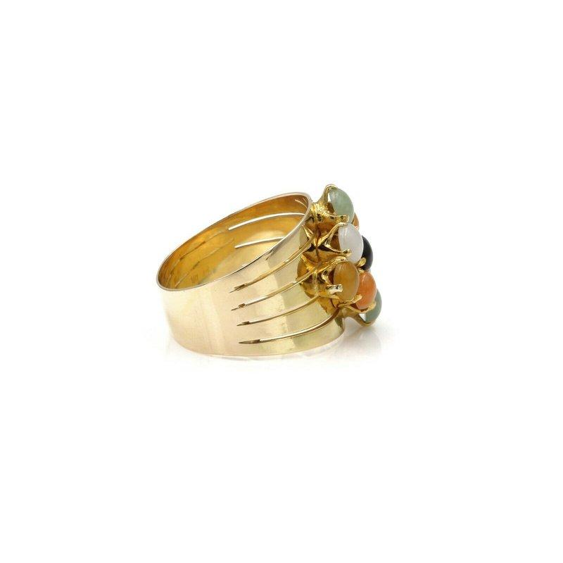 National Rarities 14K SOLID GOLD ROUND CABOCHON JADEITE RING GREEN ORANGE YELLOW WHITE 1081B-7