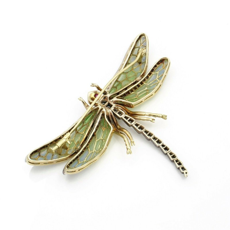 National Rarities 18K YELLOW GOLD ENAMEL PLIQUE A JOUR DRAGONFLY PIN 1.0 CTW DIAMOND RUBY #E3522-2