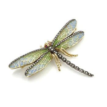 18K YELLOW GOLD ENAMEL PLIQUE A JOUR DRAGONFLY PIN 1.0 CTW DIAMOND RUBY #E3522-2