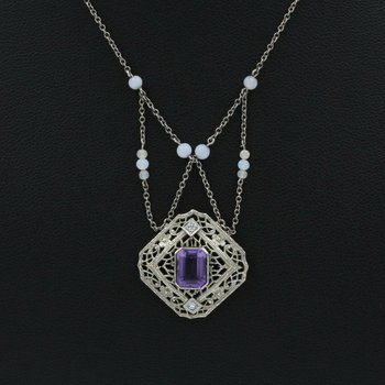 14K WHITE GOLD 1.49 CTW AMETHYST DIAMOND FESTOON FILIGREE NECKLACE 973B-10