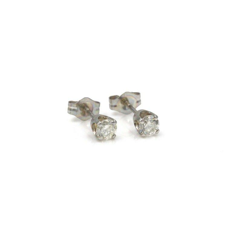 National Rarities 14K WHITE GOLD AND 0.36 CTW ROUND DIAMOND SCREW BACK STUD EARRINGS #988B-8