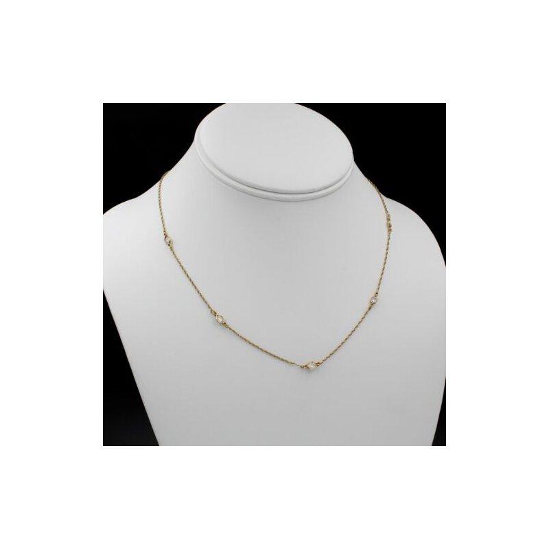 National Rarities DIAMONDS BY THE YARD 14K GOLD 1 CTW ROUND DIAMOND 5 STATION NECKLACE #1085B-8