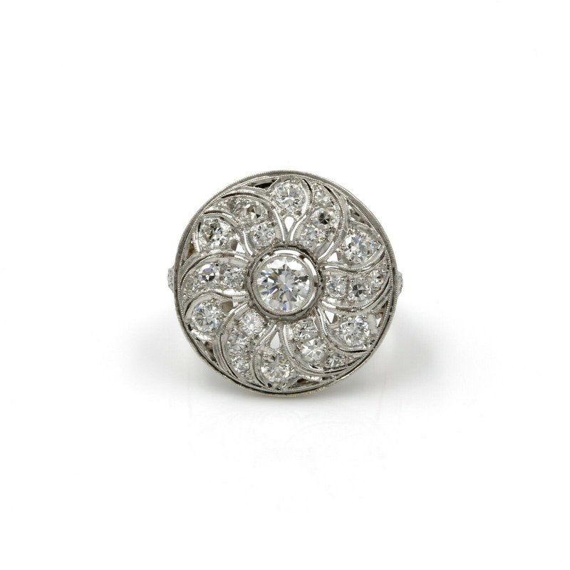 Estate VINTAGE ESTATE PLATINUM 2.06 CTW WHITE DIAMOND FLORAL DISK RING UNIQUE E-284