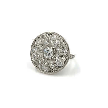 VINTAGE ESTATE PLATINUM 2.06 CTW WHITE DIAMOND FLORAL DISK RING UNIQUE E-284