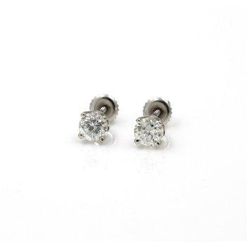 14K WHITE GOLD ROUND BRILLIANT CUT DIAMOND STUD EARRINGS 1.50 CTW PIERCE 1086B-3