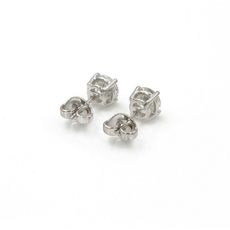National Rarities 14K WHITE GOLD ROUND BRILLIANT CUT DIAMOND STUD EARRINGS 1.50 CTW PIERCE 1086B-3