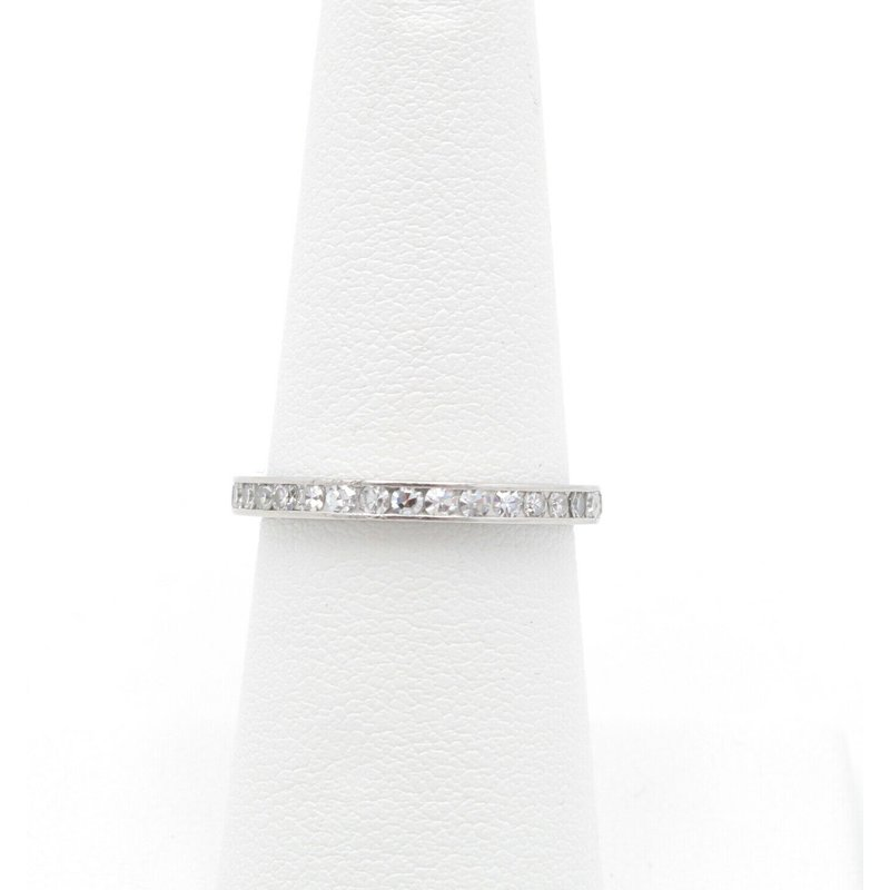 Unbranded PLATINUM ROUND SINGLE CUT DIAMOND CHANNEL ETERNITY BAND SIZE 6.5 0.50CTW #JB22-4