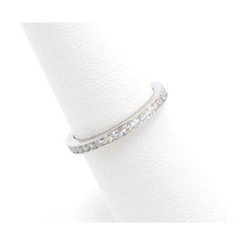 PLATINUM ROUND SINGLE CUT DIAMOND CHANNEL ETERNITY BAND SIZE 6.5 0.50CTW #JB22-4
