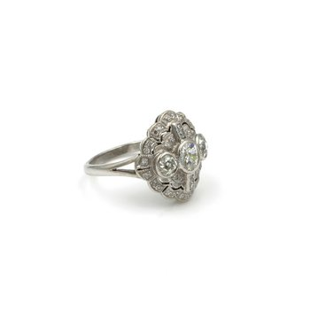 EDWARDIAN 18K WHITE GOLD & 1.65 CTW OLD MINE CUT & FRENCH CUT DIAMOND RING #E-79