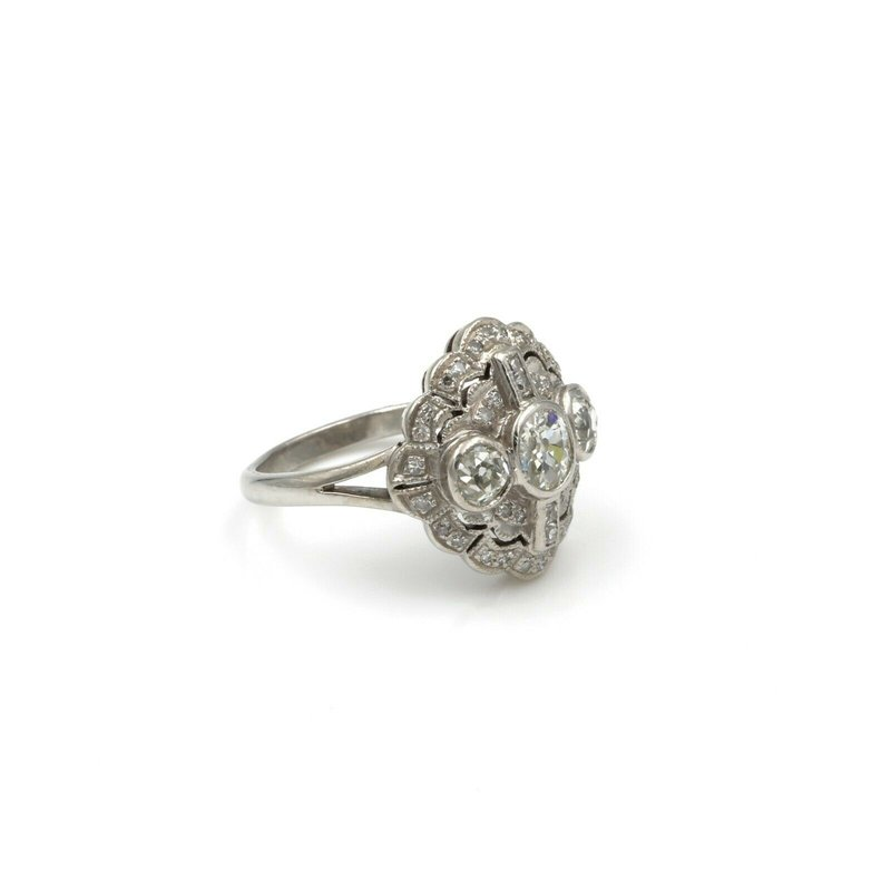 National Rarities EDWARDIAN 18K WHITE GOLD & 1.65 CTW OLD MINE CUT & FRENCH CUT DIAMOND RING #E-79
