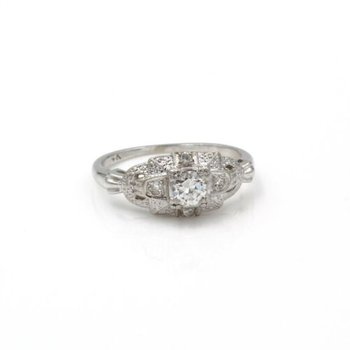 14K WHITE GOLD VINTAGE SETTING DIAMOND RING .25 CT RBC BRIDAL RING  #1035B-6