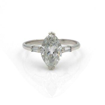 RETRO PALLADIUM MARQUISE DIAMOND BAGUETTE ACCENT RING 1.96CTW SIZE 6.25 #E3088-2