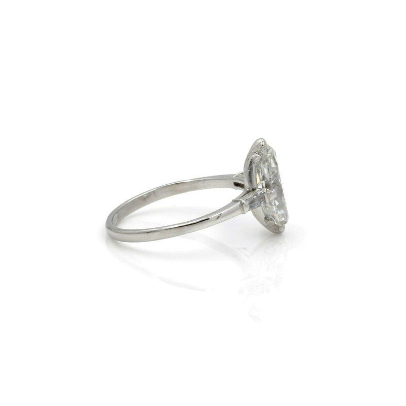 National Rarities RETRO PALLADIUM MARQUISE DIAMOND BAGUETTE ACCENT RING 1.96CTW SIZE 6.25 #E3088-2