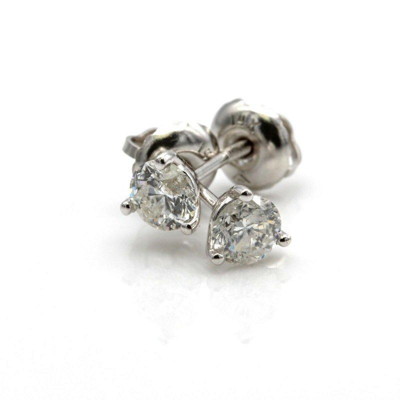 National Rarities 14K WHITE GOLD ROUND BRILLIANT CUT DIAMOND STUD EARRINGS 0.50 CTW #JB23-7
