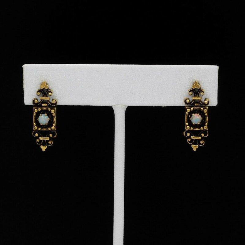 National Rarities 18K YELLOW GOLD VICTORIAN ETURSCAN OPAL CABOCHON DANGLE DROP EARRINGS #1032B-10