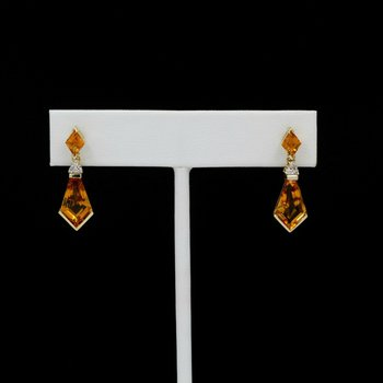 14K SOLID GOLD 9.42 CTW CITRINE & DIAMOND DROP/DANGLE EARRINGS #1038B-10
